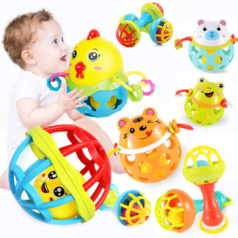 1PCS Baby Rattles Toy Soft Glue Plastic Hand Bell Rattle Funny Development Educational Toys Birthday Gifts For Newborn Baby