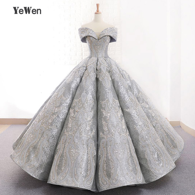 YEWEN Formal   Evening     Dresses   Ball Gown Gray Empire Off the Shoulder Lace Up Women party prom   Dresses   robe de soiree longue 2018
