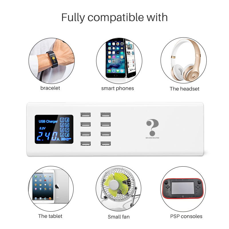 smart universal usb charger LED display 8 port fast charging HUB wall adapter power socket for Apple Android HUAWEI Xiaomi HTC