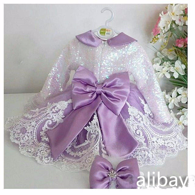 Long Sleeves Shiny Sequins flower girl dresses violet Baby Birthday Party Dress ball gown toddler princess pageant outfit 2017 long sleeves flower girl dresses with violet bow lace baby birthday party dress ball gowns toddler princess pageant dresses