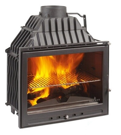 150kg Cast Iron Wood Burning Fireplace / Clean Face Design Spark Screen / Air Wash System / 79cm High / Air Control Chamber