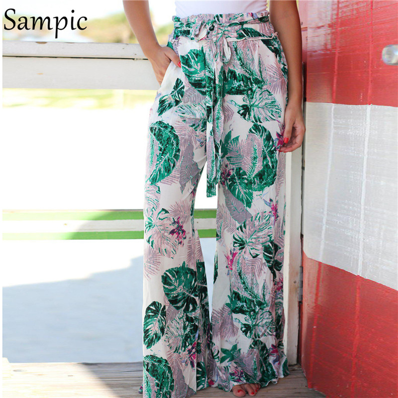 Sampic Wide Leg High Waist Pants Women Loose Beach Boho Woman Pants Casual Floral Print Trousers Pink Sashes Summer Long Pants