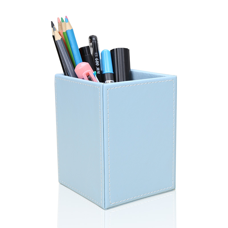 Image 4 - Square PU Leather Pen Pencil Holder Desk Organizer Office Desk Accessories A220 Pen Stand Pencil Box-in Stationery Holder from Office & School Supplies
