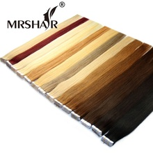 MRSHAIR 60# Platinum Blonde Tape In Human Hair Extensions 20pcs 16″ 18″ 20″ 22″ 24″ Double Sided Tape Skin Weft Hair Extensions