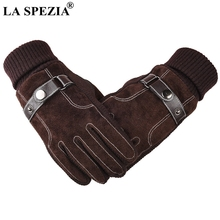 LA SPEZIA Leather Gloves Men Genuine Pigskin Winter Male With Buckle Lined Thick Patchwork Touch Screen Warm Mitten Brown