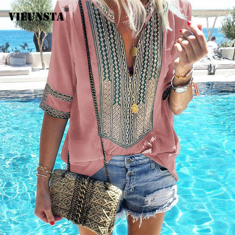 VIEUNSTA Women Plus Size Ethnic Style Bohemian Blouse Shirt Elegant V-neck Printed Beach Blusas Summer Retro Half Sleeve Blouses(China)