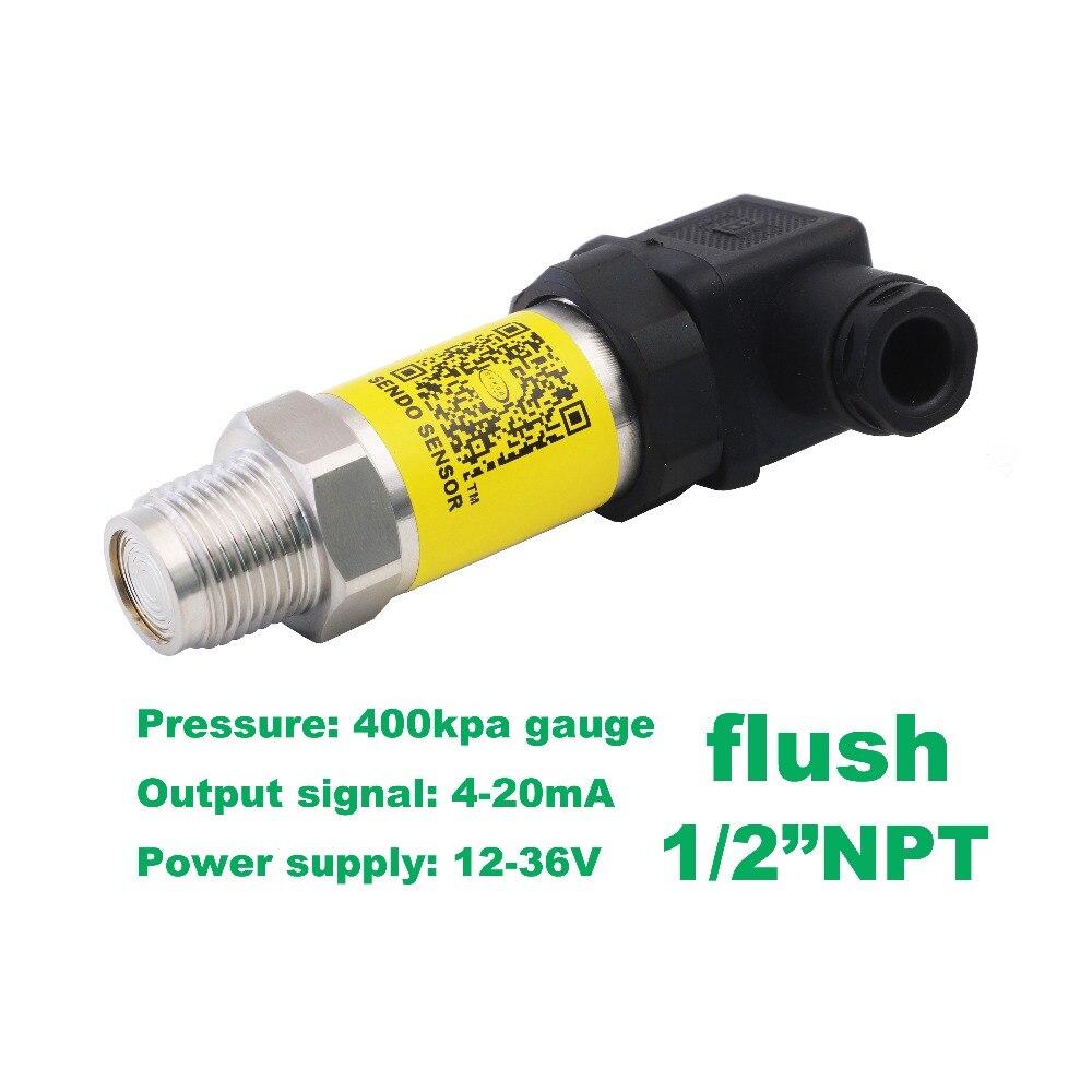 flush pressure sensor 4 20mA, 12-36V supply, 0 400 kpa/4 bar gauge, 1/2