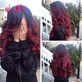 7A Burgundy Brazilian Virgin Hair Burgundy Ombre Virgin Hair 3 Bundles Brazillian Body Wave Red Burgundy Brazilian Ombre Hair