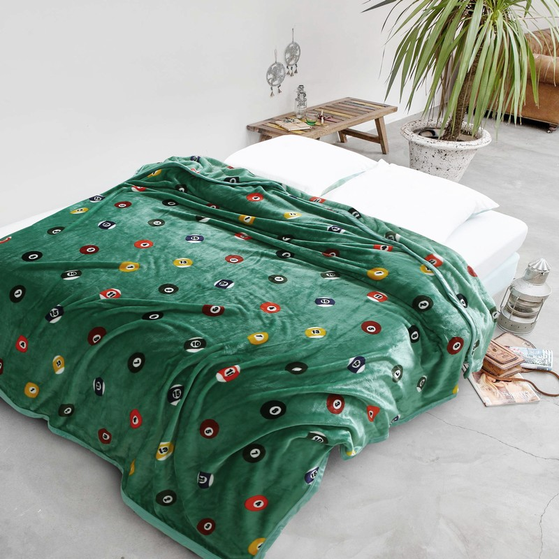 Fashion Dark Green Table Tennis Balls Soft Warm Microplush Faux Mink Flannel Blanket Throws Bedsheet Twin/Full/King Size
