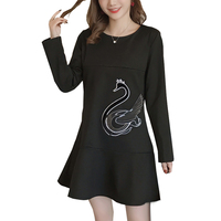 Maternity Long Sleeve Nursing Dress Breast Feeding Plus Size Casual Swan Embroidery Dresses for Pregnant Women Pregnancy Clothes
