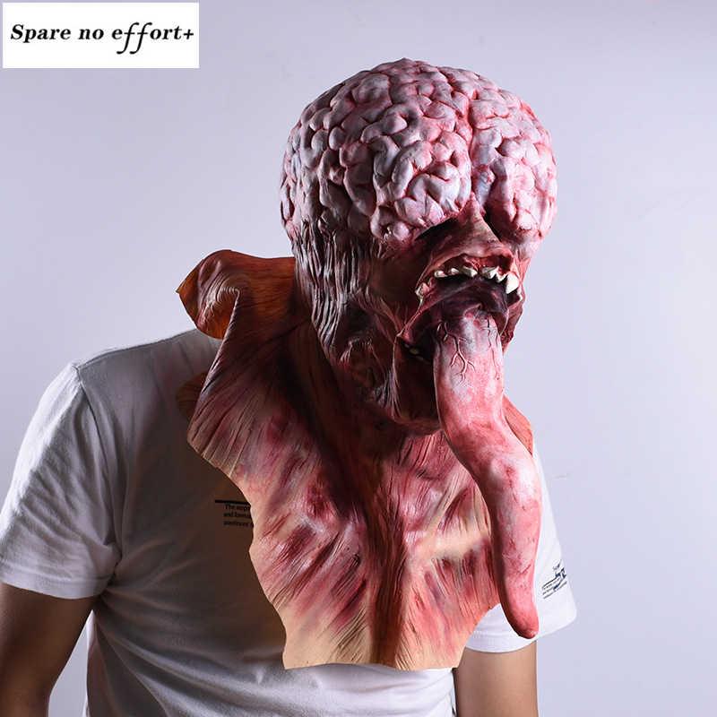 Casa stregata orrore puntelli Maschera di Halloween Lunga Lingua di Orrore del Lattice Maschera Strega Costume di Festival Del Partito Ingannevole Cosplay Prop