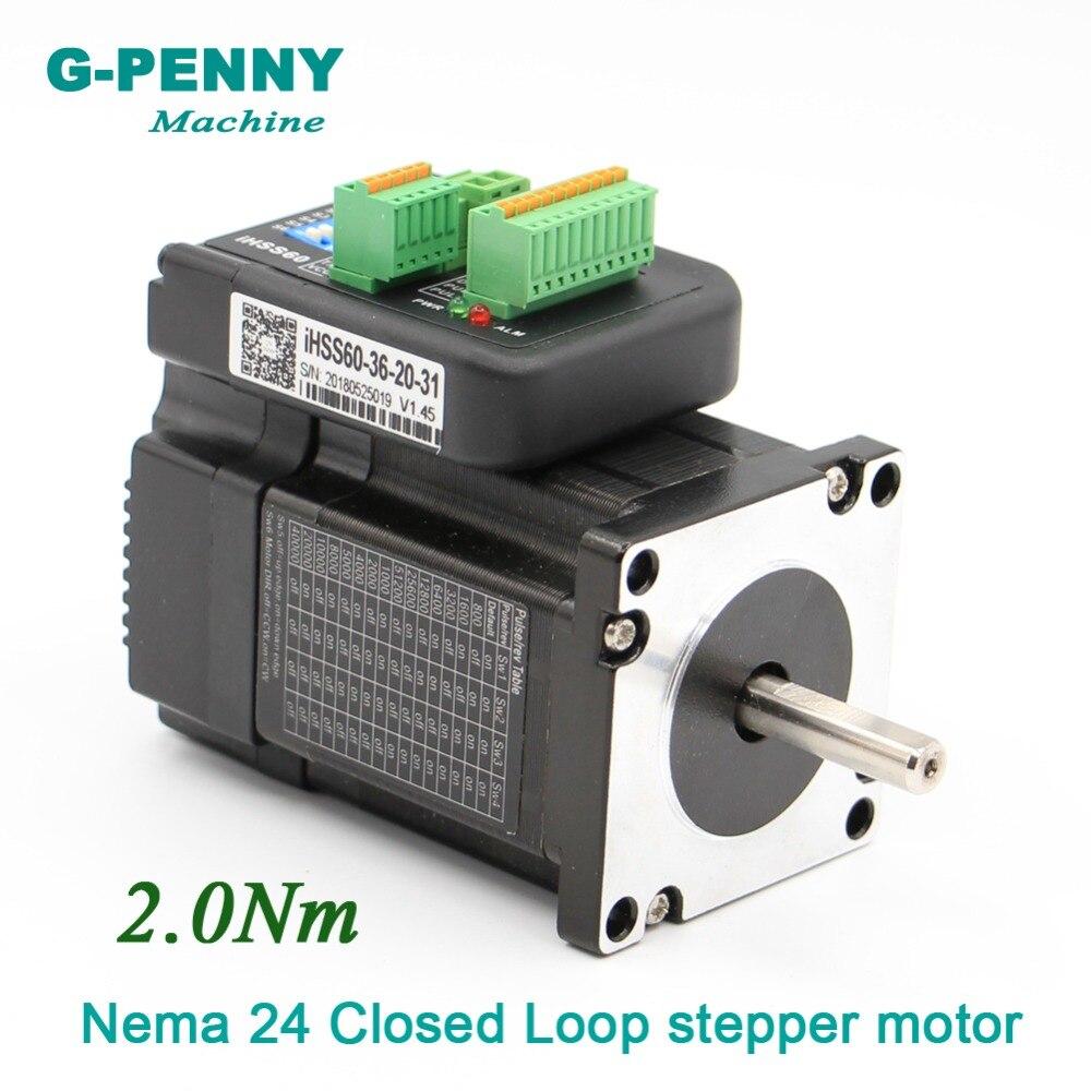 Nouveauté! Nema24 moteur pas à pas en boucle fermée 2Nm 8mm 285Oz-in hybride moteur pas à pas intégré avec entraînement 60x65mm 5.0A 36 v