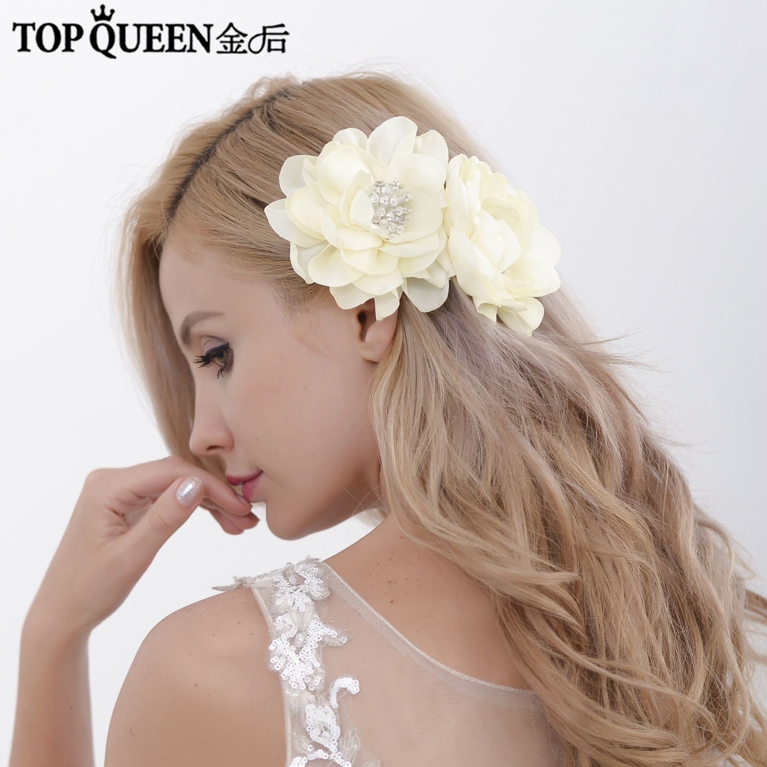 TOPQUEEN HP50-D Bride Headdress Wedding Comb For The Bride Wedding Accessories Decoration With Organza Flower Hair Comb Wedding