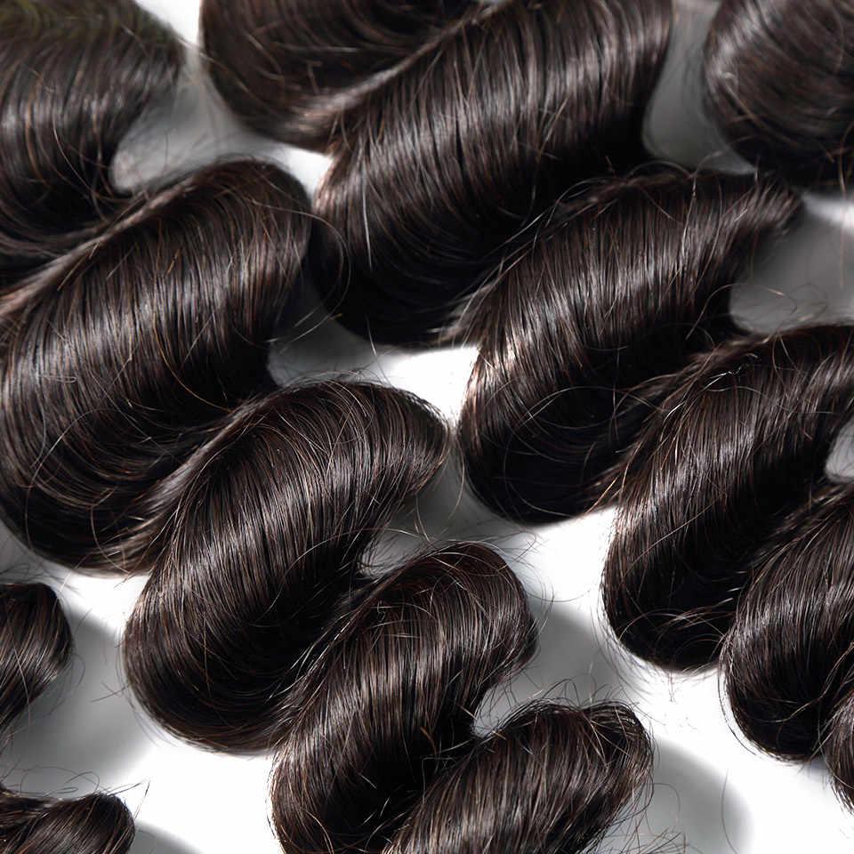 Luvin pelo peruano de la Virgen Loose Wave 3 unids/lote 100% sin procesar paquetes de cabello humano teje pelo suave No vertimiento sin enredo