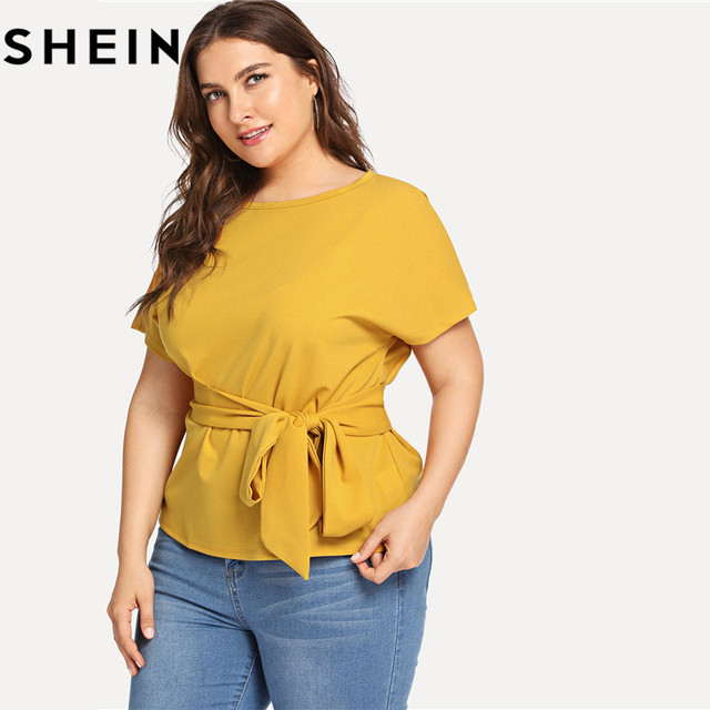 SHEIN Ginger Casual Belted O Neck Raglan Short Sleeve Plus Size Women Blouses Summer Elegant Tie Waist Solid Blouse With Sashes 2