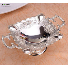 New Elegant Shiny Silver Plated Fruit Dish With Handle Fruit Sweet Dishes Luxury Europen Plates For Wedding Or Party 21*7CM