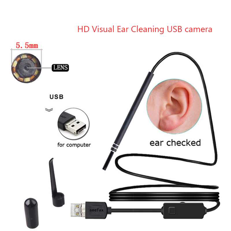 USB Ear Cleaning Tool Ear Cleaning Endoscope HD Visual Ear Spoon Multifunctional Earpick With Mini Camera For Windows PC