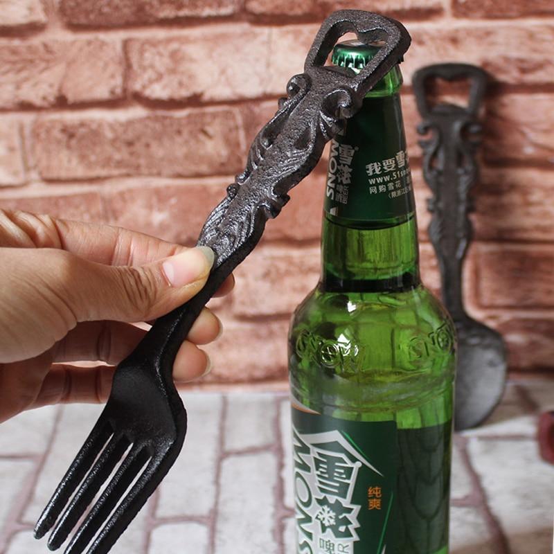 Vintage Cast Iron Corkscrew/ Bottle Opener, cast Spoon Shape Antique Rust,Fork