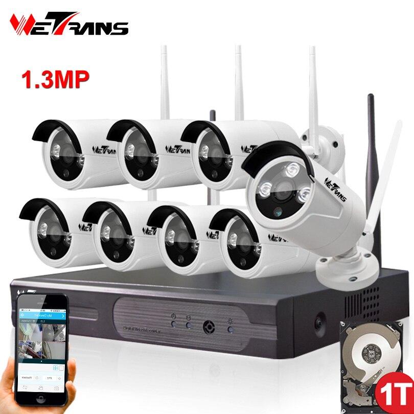 Kit DIY Security Wifi Camera System HD 1Mega Pixel Home Use P2P Surveillance Kit Wireless NVR