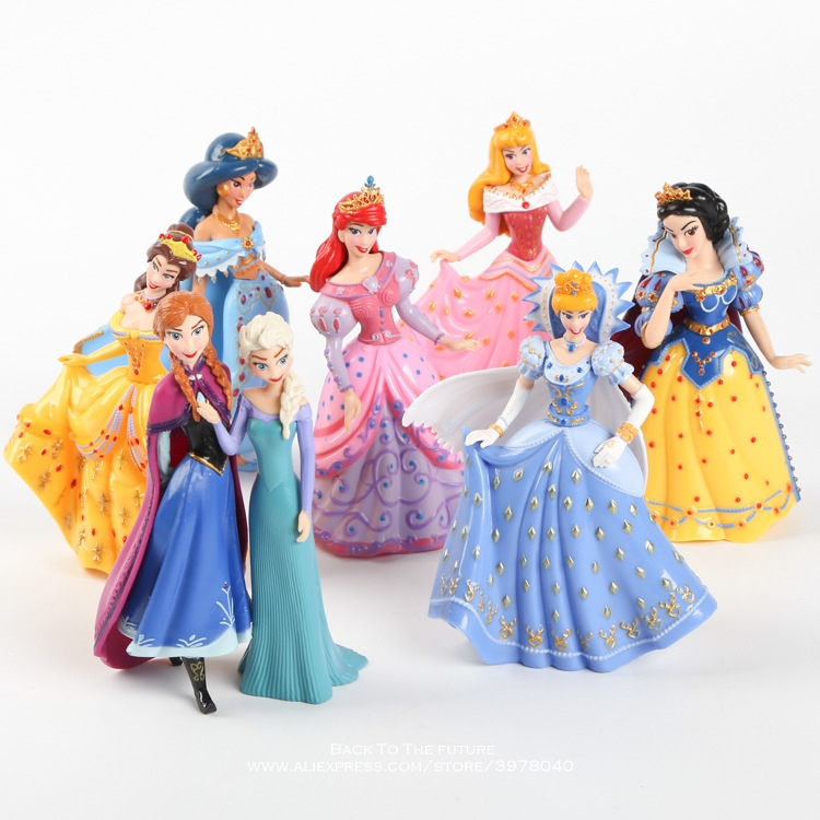 Disney Princess Magic Clip Dolls Dress Magiclip 8pcs/set 12cm Action Figure Anime Decoration Collection Figurine Toy model child catoon anime magic clip dolls dress magiclip princess cinderella mermaid snow white alice pvc action figure toys children gifts