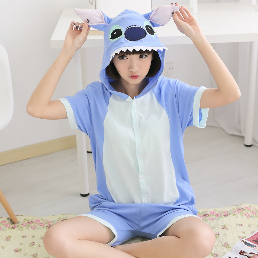 Summer Anime Blue Stitch Adult Women Men Onesie Shorts Rompers All In One Costumes with Ears Hooded Sleepwear Cos Pyjamas