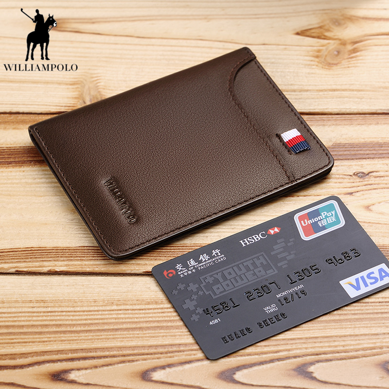 WILLIAMPOLO 2018 Slim Wallet Men Genuine Leather Purse Card Holder Coin Pocket Male Wallets men Cowhide Short Wallet PL296 williampolo men wallets male purse genuine leather wallet with coin pocket zipper short credit card holder wallets leather