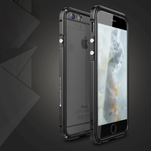 For iphone 6 s Phone Metal cases cover aluminium Frame casing For iPhone 6 plus Aluminum shockproof Transparent PC Back Covers