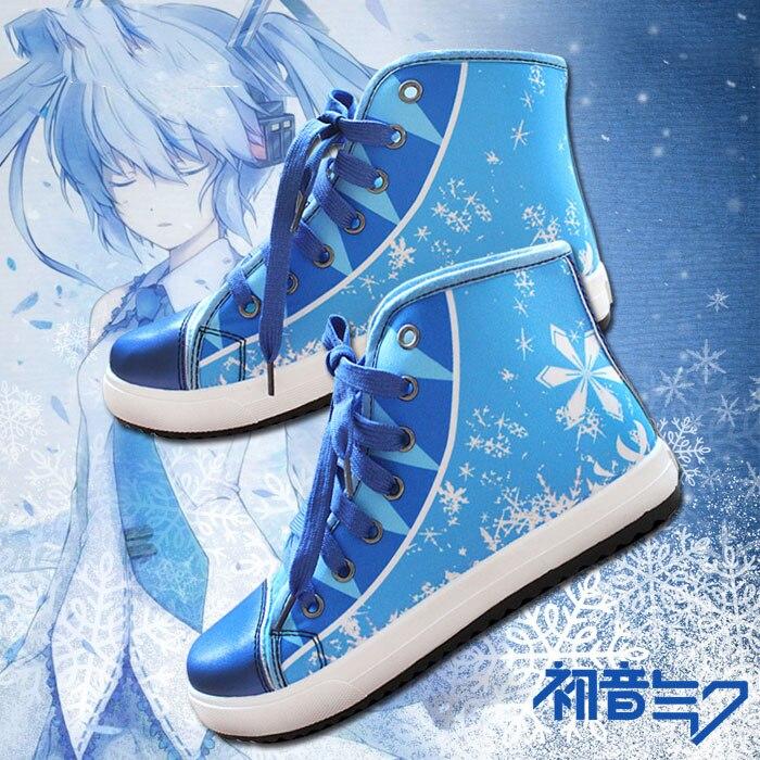 Japonais Hatsune Miku neige Miku Anime Cosplay toile chaussures unisexe étudiant Couples décontracté haut haut chaussures de sport jeu baskets chaud