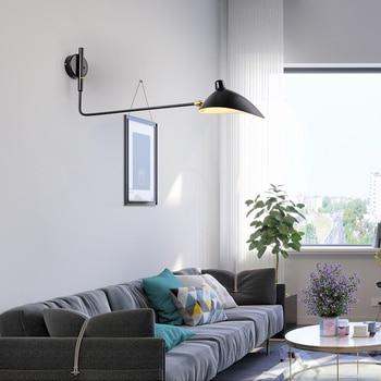 Современный минималистичный настенный светильник с двойной головкой, промышленный черный, белый, с железной краской, регулируемый светоди...