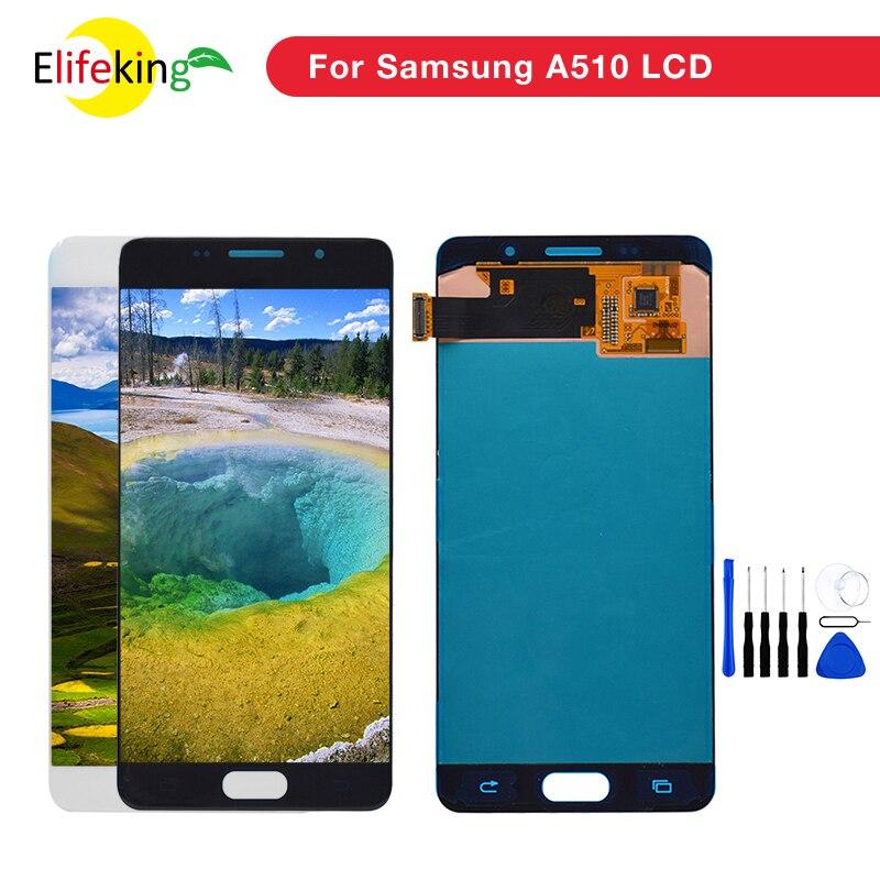 1 unids/lote A510 LCD para Samsung Galaxy A5 2016 A510F A510F/DS A510FD A510M pantalla táctil de reemplazo la Asamblea