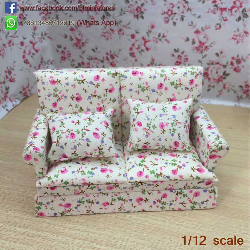 Dollhouse Miniature Fleecy Pink Sofa