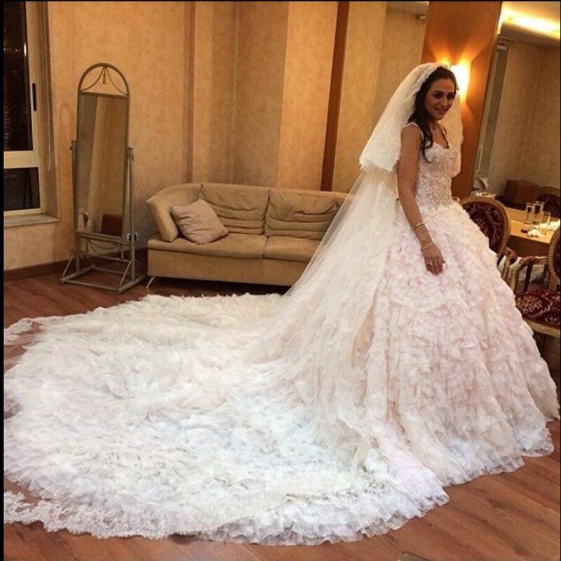 Ruffled Ball Gown Wedding Dress: White Sweetheart Wedding Dress Chapel Train Robe De