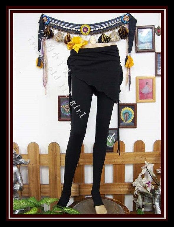 Lycra Cotton Tribal Belly Dance Yoga Tight Ninth Pants With Skirt Fitness Trousers Slim Leggings KI22-30