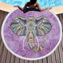 98e7511bd504 Elefante Em Torno de Microfibra Toalha de Praia Com Borlas 150 cm  Piquenique Cobertor Praia Cover