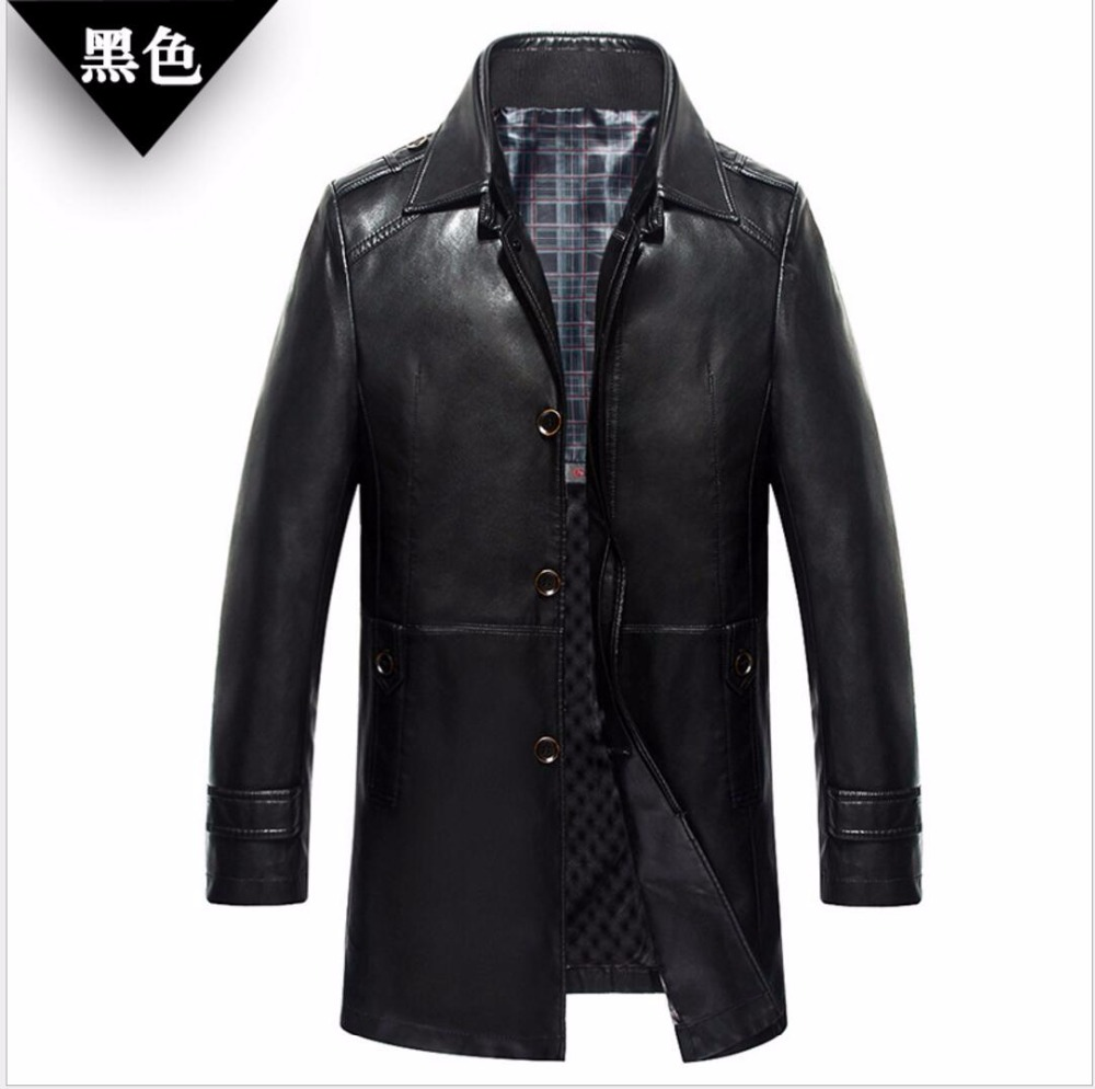M-4XL 2018 Winter New Mens clothing Business casual faux leather coat thicken PU leather jacket middle-aged long leather trench