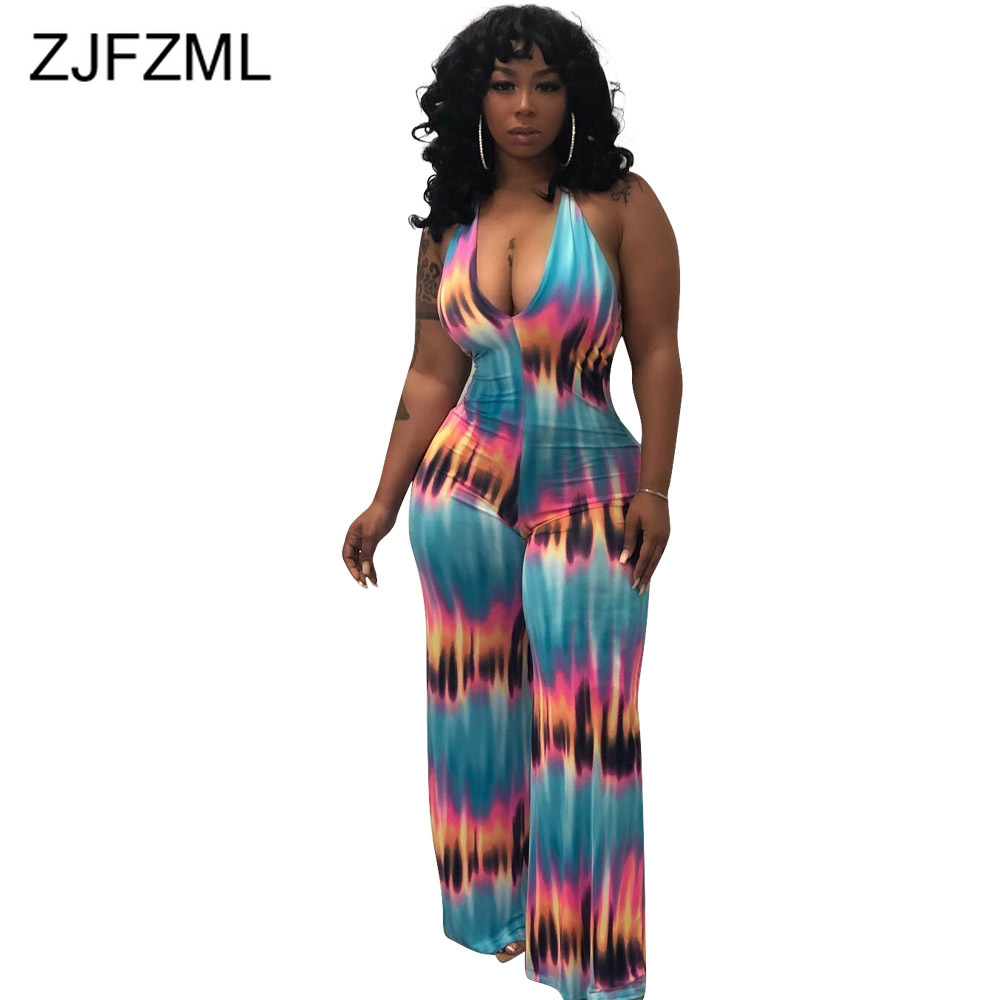 Tie Dye Print Rompers Womens   Jumpsuit   Summer Deep V Neck Sleeveless Wide Leg Bodysuit Casual Halter Open Back One Piece Overall