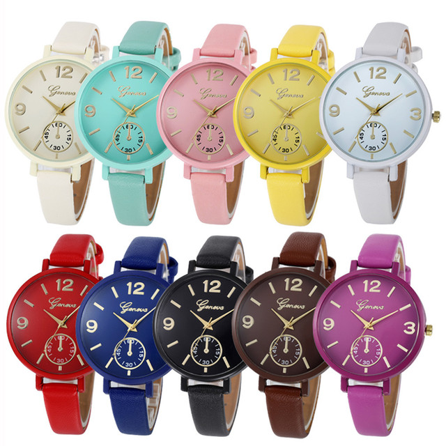 Women Children Girls Boys Watches Geneva Faux Leather Quartz Wrist Watch Luxury