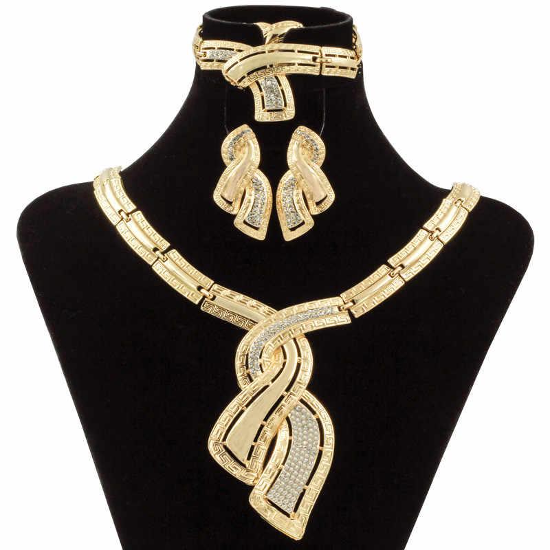 19ad5e0f54e7 Модные африканские дубайские золотые украшения нигерийские хрустальные  ожерелья серьги-кольца женские итальянские свадебные комплекты ювелирных