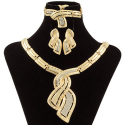 Fashion African Dubai Gold Jewelry Nigerian Crystal Necklace Hoop Earrings Women Italian Bridal Jewelry Sets Wedding Accessories