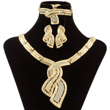 hot deal buy fashion african jewelry 18 gold nigerian  crystal necklace hoop earrings women italian bridal jewelry sets wedding accessories
