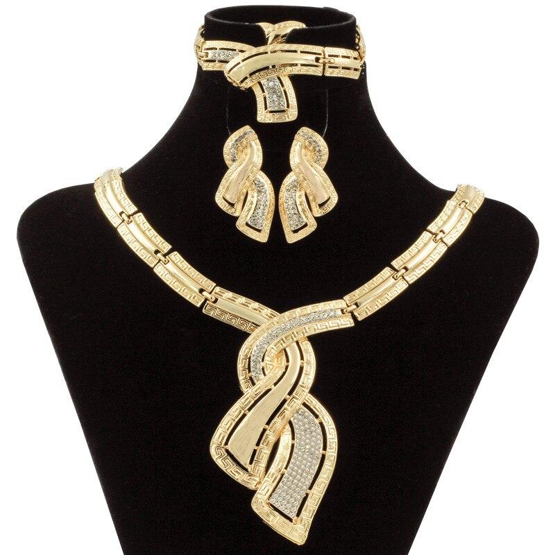 Moda Africana, joyas de oro de Dubai de Nigeria collar de cristal pendientes de aro mujeres italiano de conjuntos de joyas accesorios de la boda