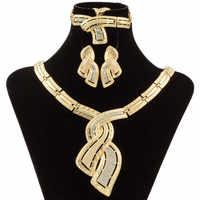 Mode Afrikanische Dubai Gold Schmuck Nigerian Kristall Halskette Hoop Ohrringe Frauen Italienischen Braut Schmuck Sets Hochzeit Zubehör