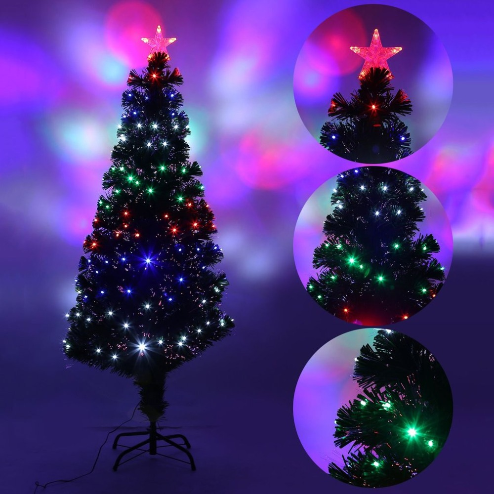 1.5/1.8/2.1M Christmas Tree Four LED Color Changing LED Fiber Optic Lights Tall Navidad Tree Indoor Outdoor Christmas Decoration