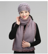 New Arrival Fashion Warm Hat Scarf Female Winter Rabbit Wool Cap Grandma Warm Knitted Winter Velvet Mother Hat Scarf B-7756