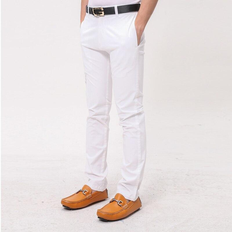 9b1eaa0421 Paul Mogan hombres pantalones Casuales de la moda de algodón Blanco  pantalones de Diseñador de marca de alta calidad para hombre vestido  pantspocket diseño ...