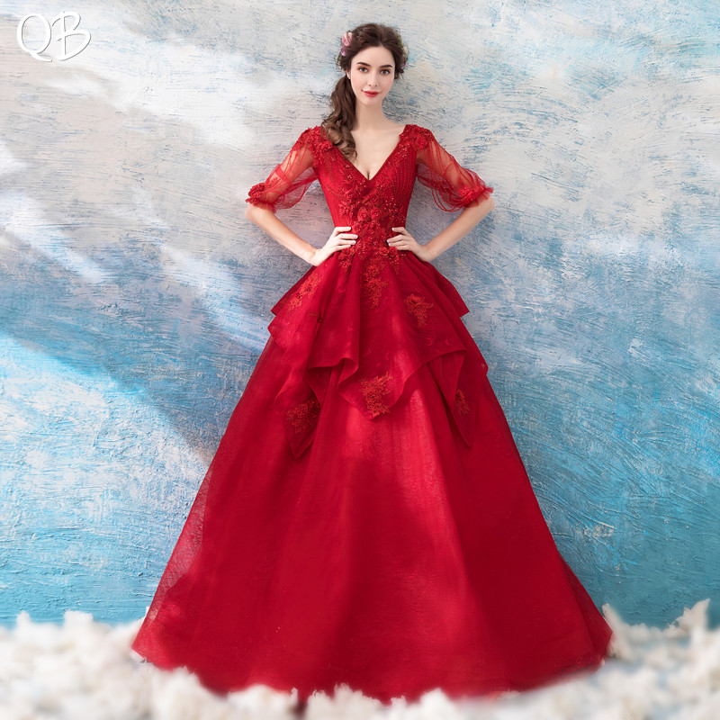 2020 New Fashion Ball Gown Half Sleeve Lace Flowers Pearls Beaded Luxury Wine Red Evening Dresses Formal Evening Gowns XK13