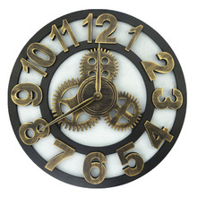 2017 Art Large Gear Wall Clock Handmade 3D Retro Rustic Decorative Wall Watch Luxury Wooden Vintage Clock Art Industrial