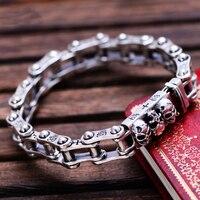 Metjakt панк рок Для мужчин тайский серебряный браслет черепа Твердые стерлингового серебра 925 локомотив браслет для Байкер Украшения для мужч
