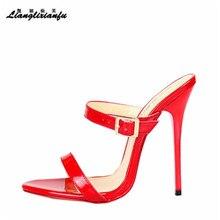 LLXF zapatos de tacón fino para mujer, sandalias clásicas de aguja de 14cm, 48, 49 y 50, para verano