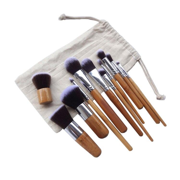 11 Uds. Juego profesional de pinceles de bambú para maquillajes sombra de ojos Pinceaux Maquillage base colorete Kabuki Brochas Maquillaje suave